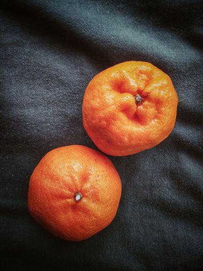 High angle view of orange fruit