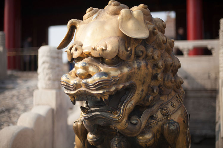 Close-Up Of Bronze Statue At Forbidden City