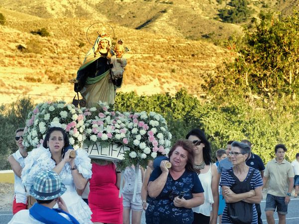 Casual Clothing Enjoyment Family Flowers Folk Festival Folklore Friendship Fun Leisure Activity Mountain Outdoors Romeria Virgen Del Carmen People Tradition Traditional Culture
