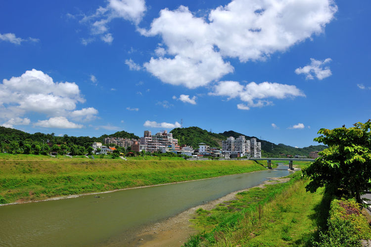 River beautiful landscape, fresh natural environment, the city leisure place Keelung River Natural Scenes Taiwan Architecture Bridge Building Exterior Built Structure Cloud - Sky Day Grass Nature New Taipei City No People Outdoors River Sky Travel Destinations Tree Xizhi