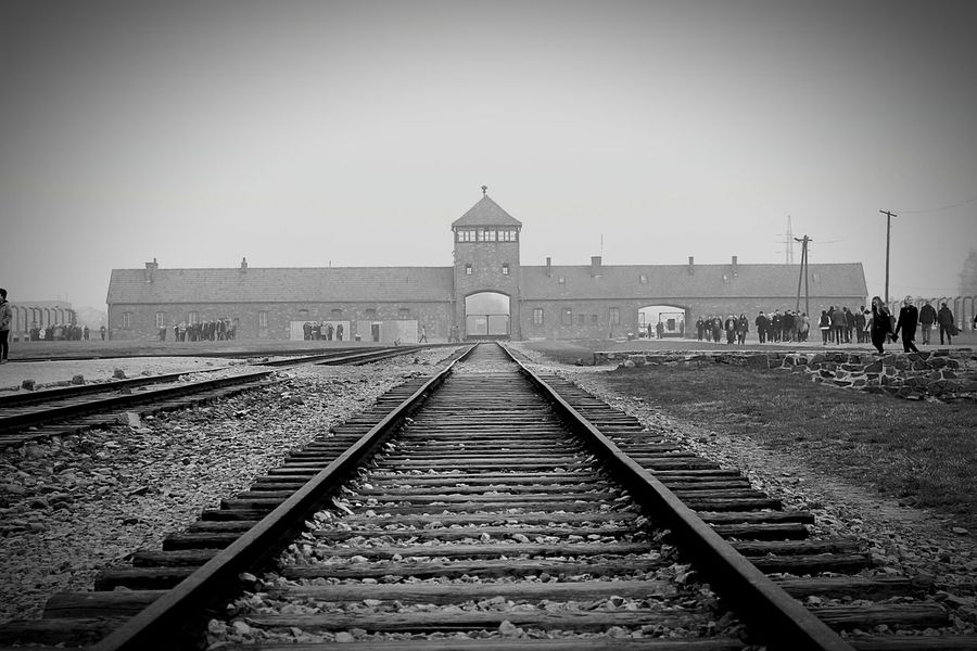 Railroad Track Rail Transportation Clear Sky Environment Outdoors Social Issues No People Business Finance And Industry Sky Day Auschwitz  Birkenau Memorial EyeEmNewHere Travel History Neveragain Holocaust Memorial Blackandwhite Black And White Black&white Welcome To Black