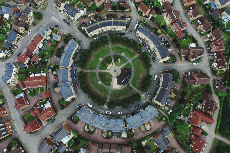 Aerial view of residential district with circle courtyard