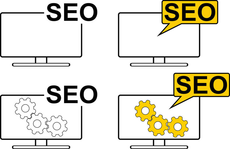 An icon set with 4 different icons about a computer monitor with the write SEO. Two of them have 3 gears. Vector Icon Sign Computer Concept Device Internet Keyword Mechanism Monitor Optimization Search Engine Optimization Seo Settings Software Symbol Technology Web