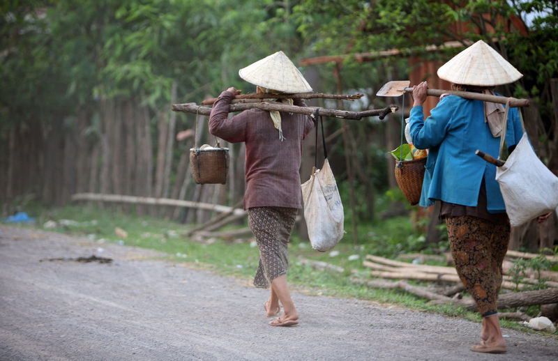 Rear view of women carrying bags while walking on road