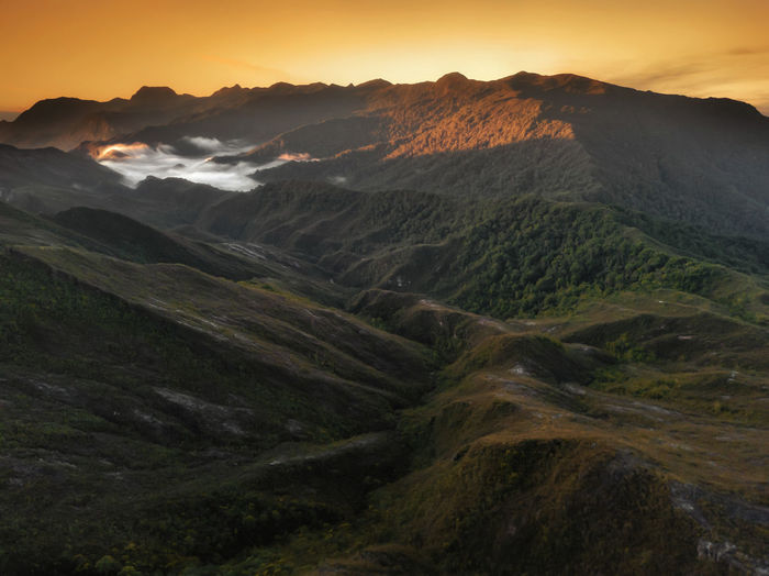 Aerial view landscape Mount of Tahan , Pahang , Malaysia. Aerial View Aerial Mountain Sunset Fog Dawn Sky Landscape Winding Road Mountain Road Rocky Mountains Streaming Sky Only Mountain Peak Dramatic Sky Mountain Range Valley