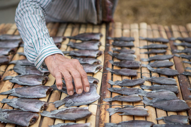 The hands keep the fish dry on a bamboo mat Mat Adult Bamboo Day Dry Fish Focus On Foreground Hand Holding Human Body Part Human Hand One Person Outdoors Real People Wood Wood - Material Working