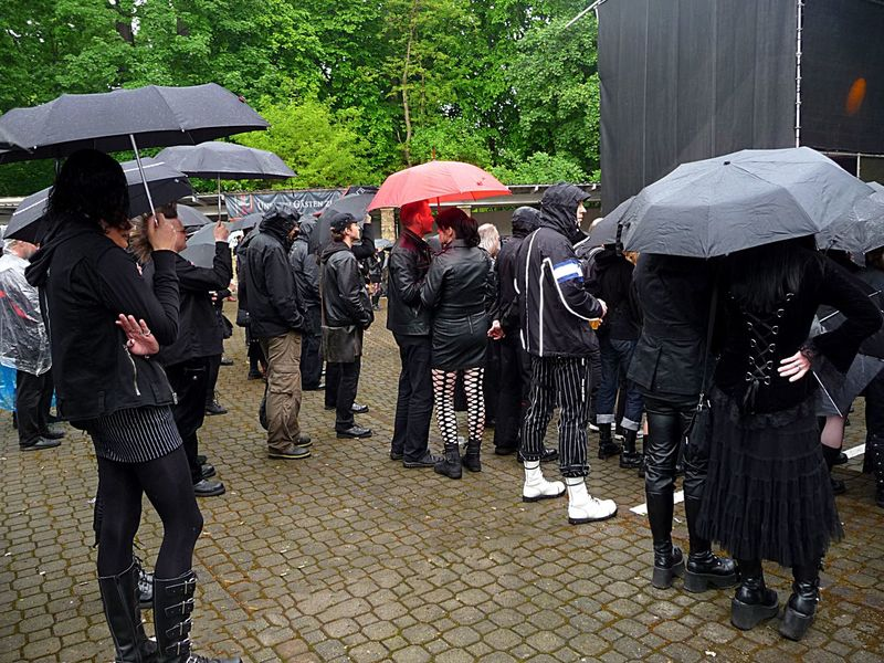 Wave-Gotik-Treffen Leipzig, it is not always easy to look cool😄 Wave-Gotik-Treffen Enjoying Life Germany Leipzig Park From My Point Of View Festival Season Extraordinary  Fun Crowd Music Black Rainy Days Umbrellas