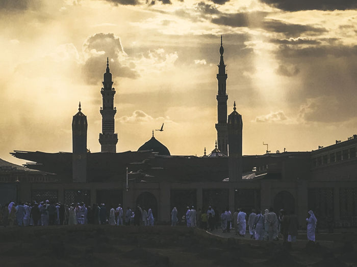 Architecture Masjidil Nabawi Madinah Architecture Building Exterior Built Structure City Day Green Dome Islamic Architecture Large Group Of People Men Mosque Outdoors People Sky Sunset Women