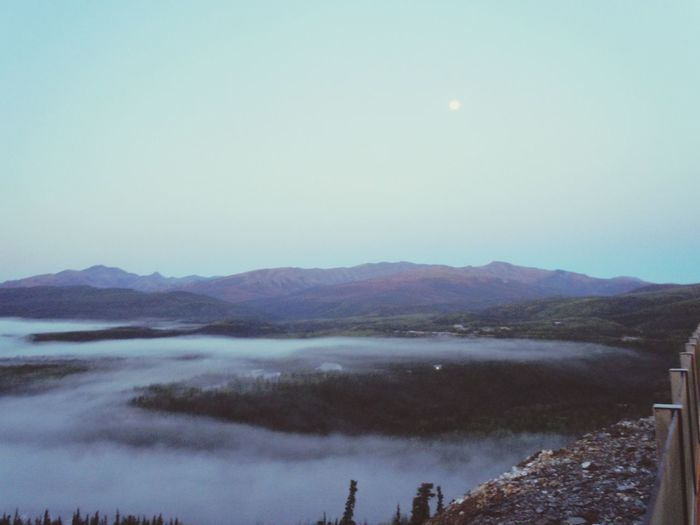 Morning mist over Denali National Park.