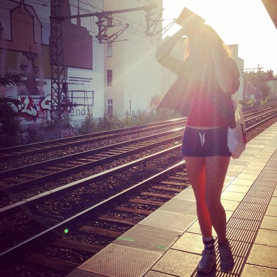 Halo. Passer-by Station Platform Berlin Against The Sun Unrechgnizable No Faces No Face Glare Sun Street Photography Girl Summer Sun
