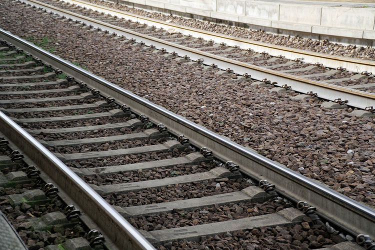 Track Railroad Track Rail Transportation Transportation No People High Angle View Gravel Nature Public Transportation Mode Of Transportation Metal Travel Day Outdoors Direction Solid Connection Railroad Tie Architecture Rock Parallel Economy