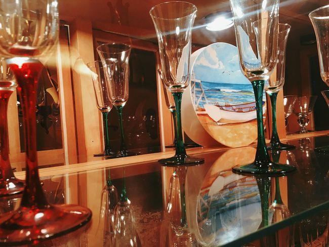 Fine Art Photography Hutch Lighted Pretty Stemware Glass Wooden Maple
