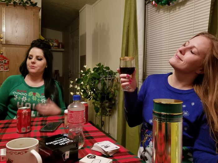 EyeEm Selects Two People Adult Togetherness Indoors  Drinking People Drink Celebration Adults Only Drinking Glass Young Adult Only Women Young Women Headshot Women Day Real People Friendship Holidays Christmas Eve Freshness Blond Hair Food And Drink Christmastime