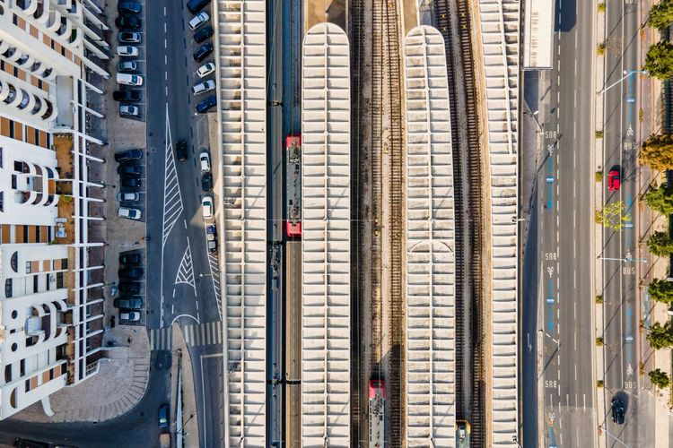 Aerial view of santa apollonia train station in lisbon, portugal