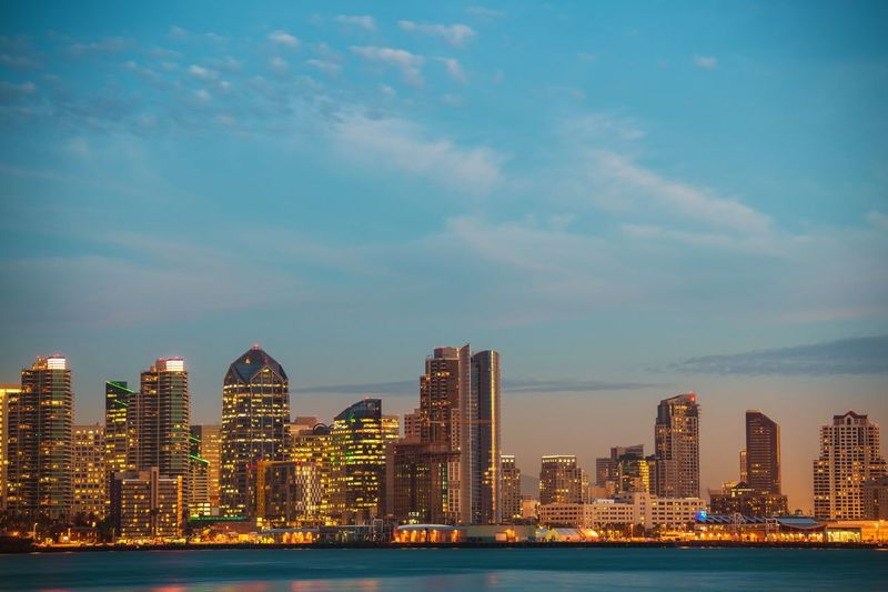 California City of San Diego, United States. Bay and the Skyline. City Cityscape San Diego Skyline USA United States Close-up