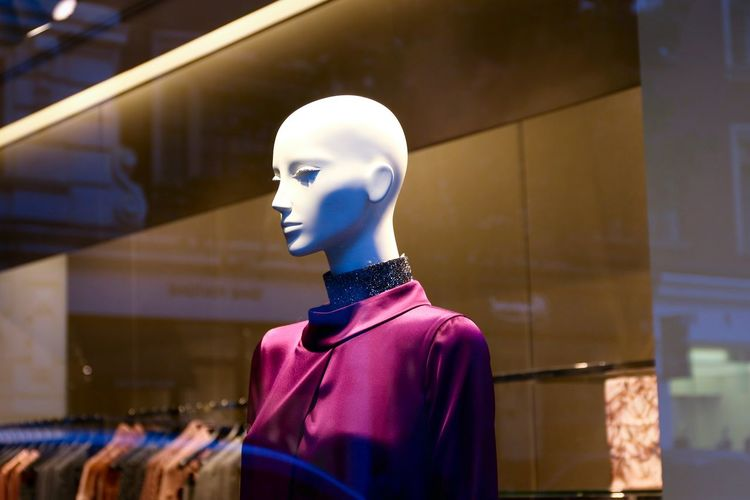 Low angle view of mannequin at shop