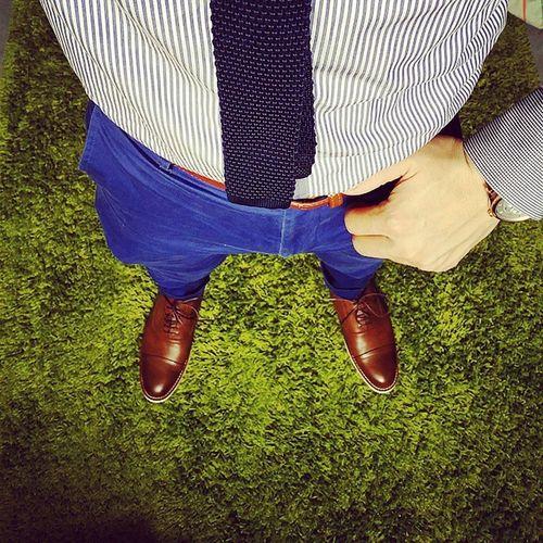 Dress to impress Ootd Kurtgeiger Toecapshoe Ratnerbrown knittedtie topman bluepants zaraman slimcutshirt massimodutti watch