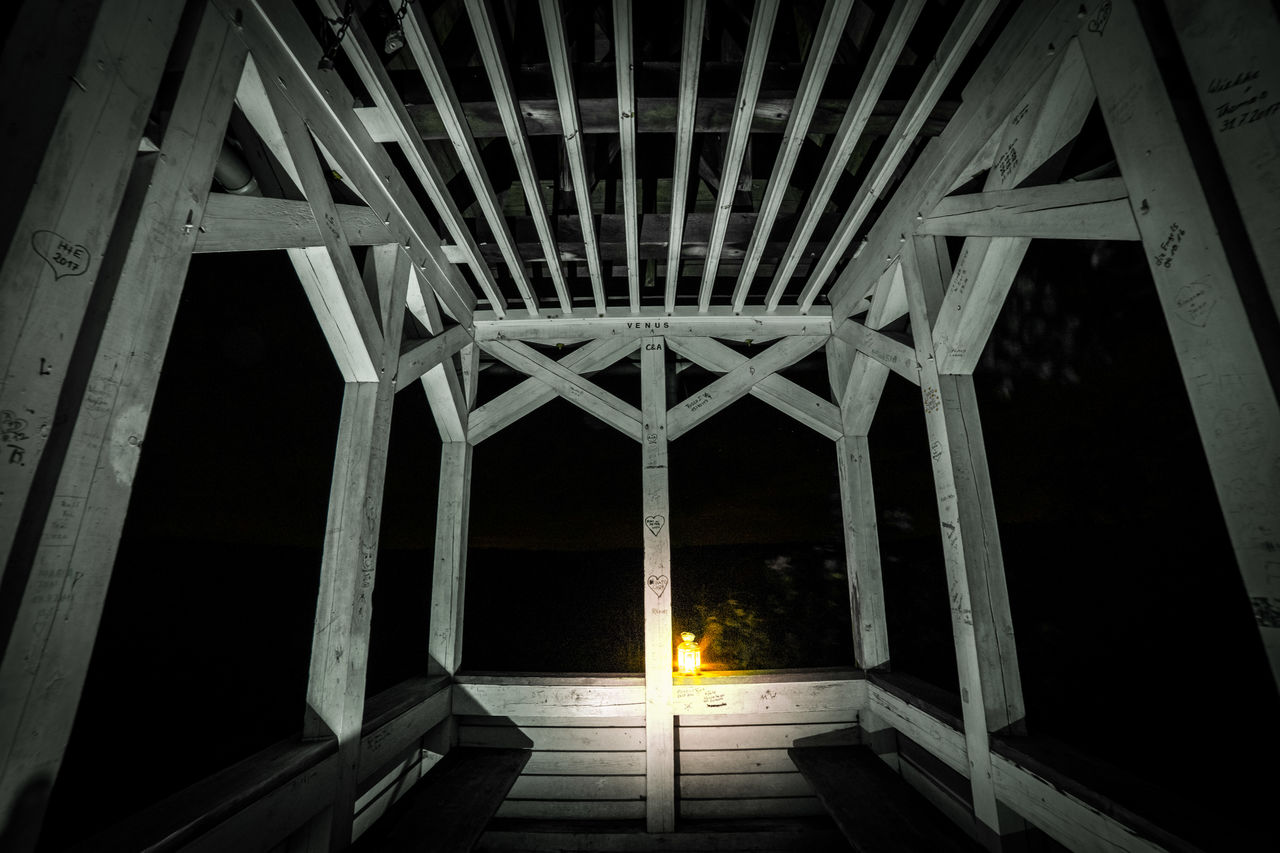 architecture, built structure, night, no people, wood - material, indoors, illuminated, low angle view, nature, architectural column, building, pattern, lighting equipment, direction, the way forward, empty, ceiling