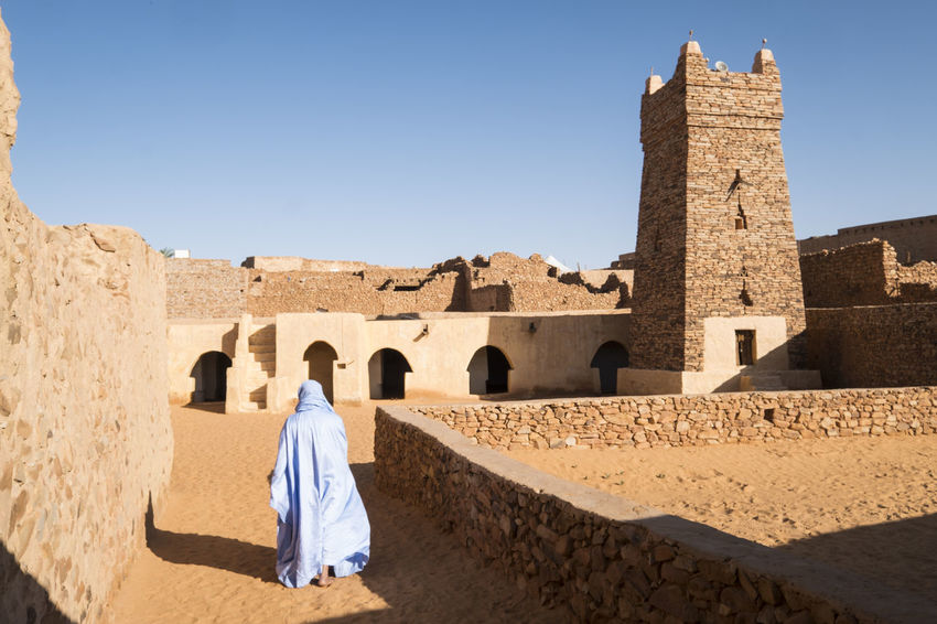 Street view in famous castle in the UNESCO covered town of Chinguetti Muslim Islam Traditional Town CHINGUETTI Tower Mosque Heritage Building Religious Architecture Religion Mauritania North Africa