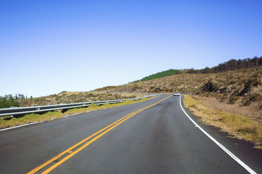 The Traveled Road Haleakala Hawaii Life Road Clear Sky The Way Forward Copy Space Road Marking Transportation Day Asphalt Outdoors No People Winding Road Sky Landscape