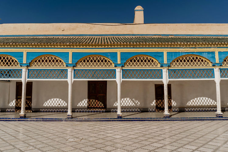 Marrakesh Marrakech Tourist Attraction  Travel Destinations Travel Photography Morocco Architecture No People Built Structure Arch Building Exterior Tiled Floor Sunlight Travel In A Row Absence Clear Sky Blue Bahia Palace Palais Bahia