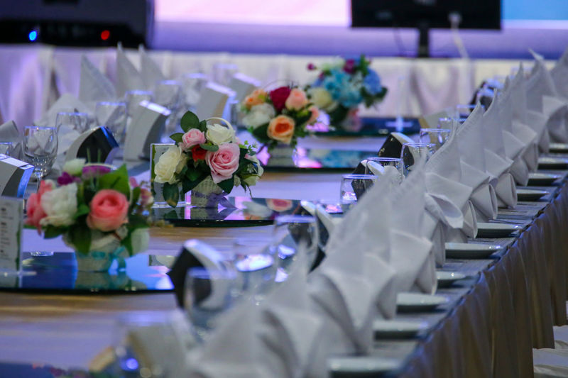 Flower pots on table