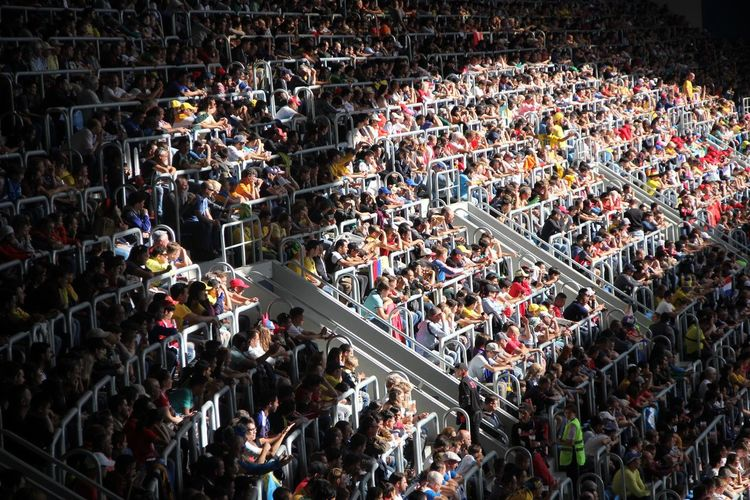 High angle view of people looking at stadium