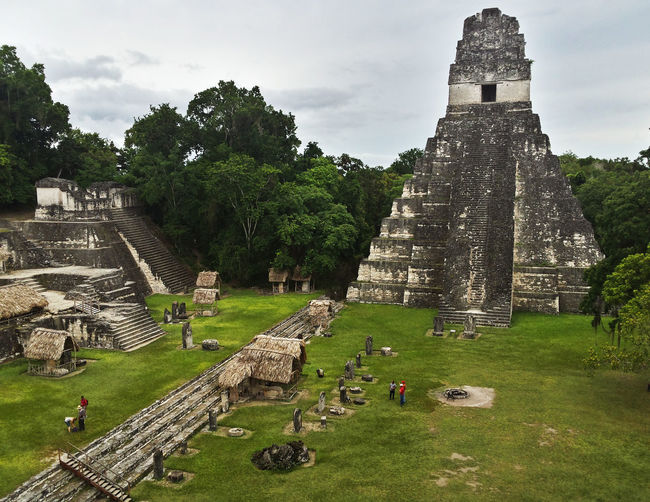 Exterior Of Old Temple At Tikal National Park Against Sky