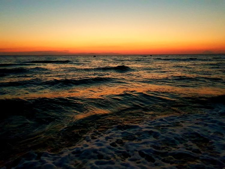 Bright blood of the sun Beauty In Nature Nature Landscape Sea Wave Water Sunset Horizon Over Water