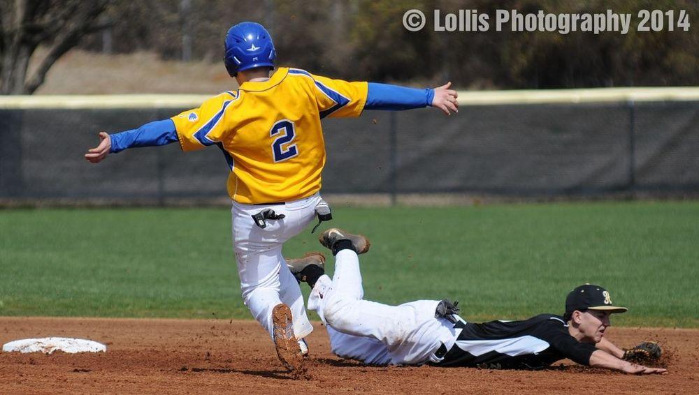 Wren High School Baseball stealing second base. Wren Hurricanes Sports Photography
