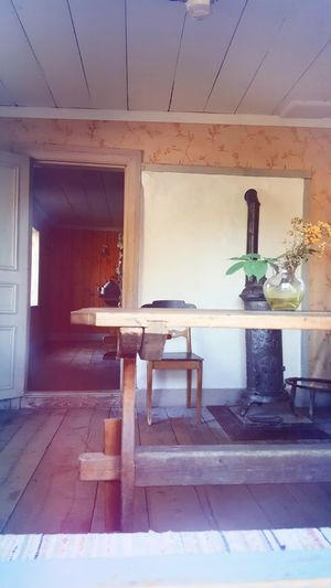 Indoors  Empty Chair Flooring Tiled Floor Built Structure Bench Architecture Seat Group Of Objects Day No People Patio Solitude Stockholm Skansen Stockholm Tranquility Outdoor Museum Skansen Old-fashioned House Architecture Sweden