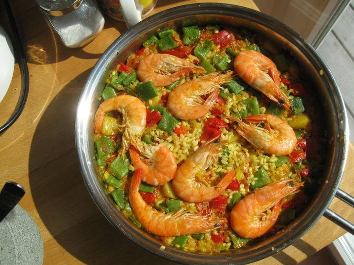 Paella Cooking Pan Dinner Food Food And Drink Healthy Eating Homemade Paella Seafood Shrimp - Seafood