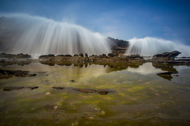 Slow shutter and long exposure, Beautiful Scenery of Tanjung Layar Beach, Sawarna, Indonesia - May 2016 Backgraund Effort Extreme Mirror Nature View Wave Action Beach Beauty In Nature Blue Landscape Photography Scenery Sea Sky Tourism Travel Destinations Wallpaper