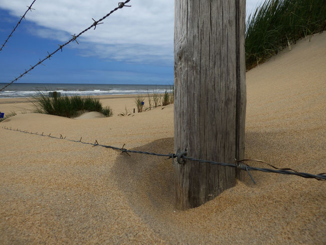 Barbed Wire Barrier Beach Boundary Day Fence Horizon Over Water Land Nature No People Outdoors Post Protection Safety Sand Sea Security Sky Tranquil Scene Tranquility Water Wire Wooden Post