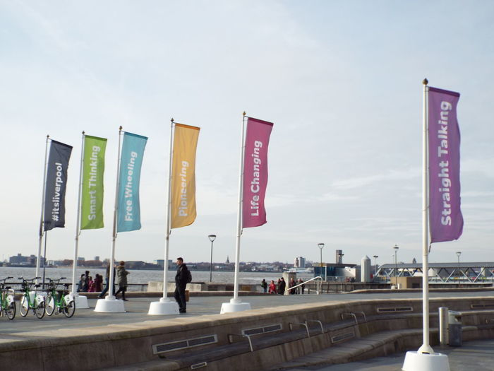 Walking Around The City  City Of Liverpool Liverpool United Kingdom Merseyside Banner Flags Flags
