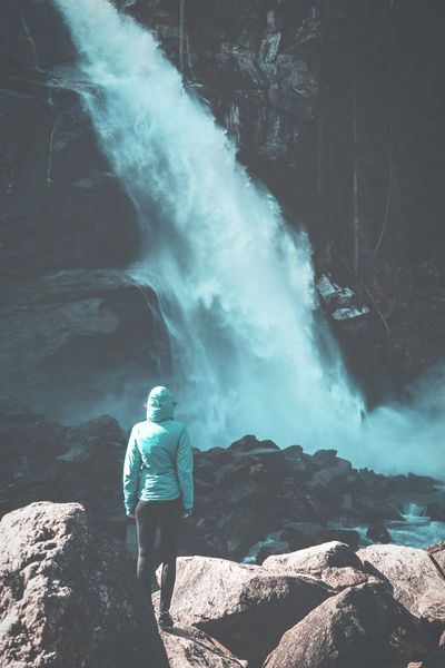 Waterfall Girl Adventure Travel One Person Full Length Travel Destinations People Mountain Scenics Nature Standing Real People Girl Woman Female Waterfall Hiking Rocks Frau Wasserfall Travel Www.alexander-schitschka.de