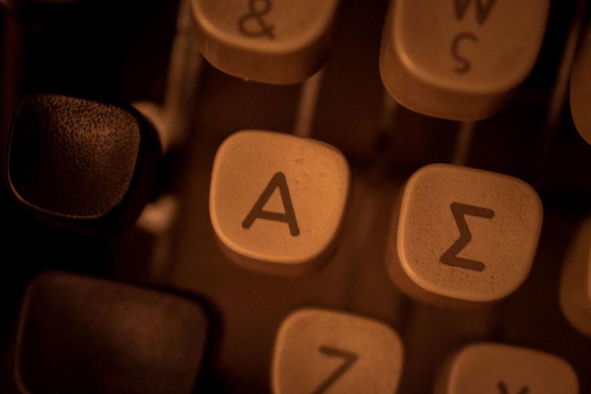 Close-up Greek Letters Keyboard Letters Old Typewriter Old Typing Machine Typewriter