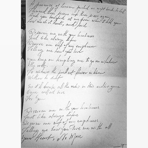 Poetry by Ville Valo. I find it hard to think of a song that describes me and my feelings as perfect as this. Him DisarmMe WithYourLoneliness Screamworks VilleValo poetry beautiful words lyric handwriting handwritten girl love life personal