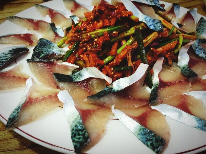 Seafood Dinner Super Fresh IPhoneography Mackerel Sliced Raw Fish Taking Photos Being A Tourist The Foodie - 2015 EyeEm Awards Enjoying A Meal