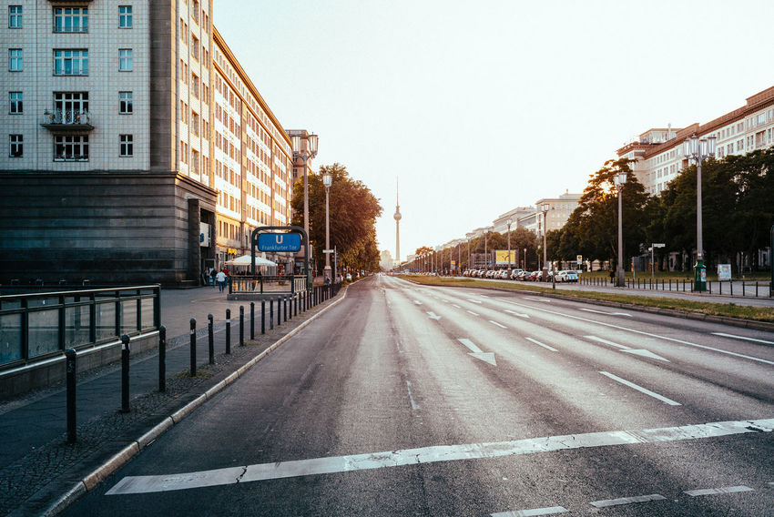 Empty street before a demonstration arrived Berlin Photography City City Street Cityscape Perspective Public Transportation Road Sunset_collection Urban Lifestyle Urban Geometry Berliner Ansichten City View  cityscapes Day Daylight Empty Road Evening No Cars  No People Road Marking Road Sign Street Sunset Urban Urban Skyline
