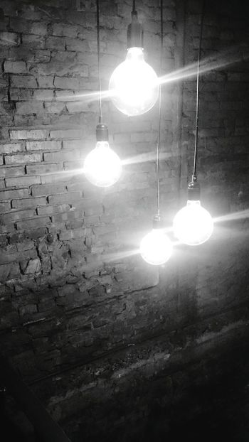 Life is just like a bulb. The one who switch brightness is not God but your mind. Indoors  Moments Of My Life Taking Photos Monochrome Light And Shadow Illuminated Lighting Equipment