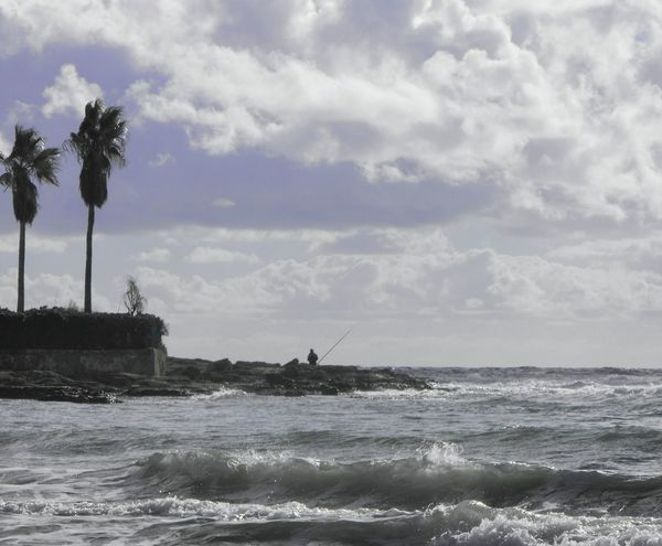 A Windy day... Waves Fisherman Palm Trees Mediterranean  Water Sea Shore Море берег Seascape Seaside Sky Clouds Palmas Torrevieja