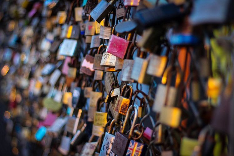 Love Lockets Padlock Love Lock Love Lock Abundance Large Group Of Objects Security Hanging Safety Protection Railing Hope - Concept Hope Selective Focus Outdoors Message Variation No People Close-up Day