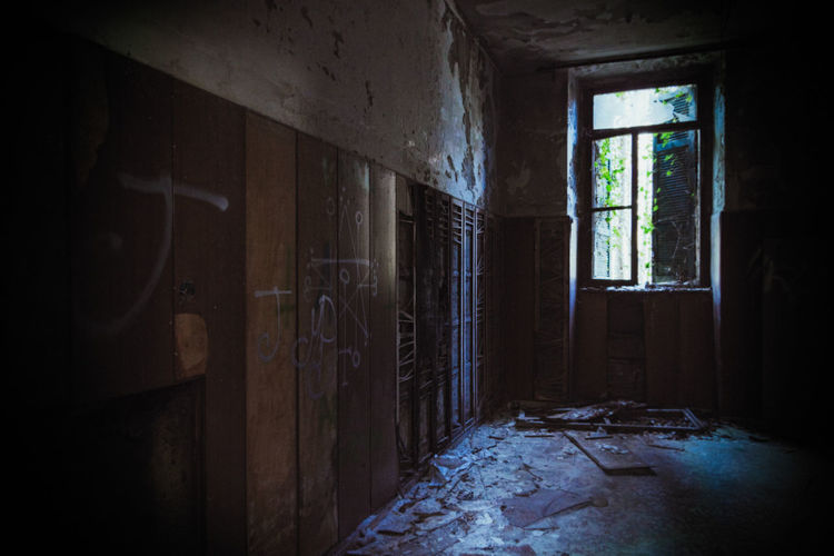 Abandoned Indoors  Window Damaged Obsolete Run-down Old No People Deterioration Decline Dirt Architecture Dirty Building Home Interior Bad Condition Domestic Room History Messy Day Ruined Satanic Emblem Mental Hospital