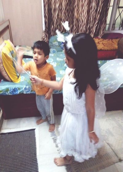 Two People Togetherness People Indoors  Child Day Childhood Standing Wedding Dress Bride Children Playing