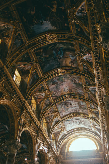 Catholic church Architecture Built Structure Religion Place Of Worship Low Angle View Belief Building Arch Spirituality No People Ceiling Indoors  History The Past Day Architectural Column Architecture And Art Ornate Mural Abbey My Best Photo