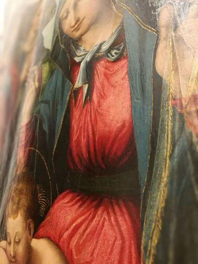 Marco Cardisco -Calabria, doc. 1517/1540-Madonna in adorazione del Bambino ed incoronata da angeli- Red Paint Palazzo Arnone