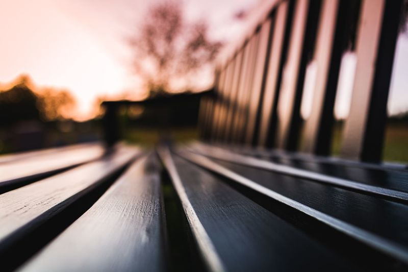 Close-up of empty bench