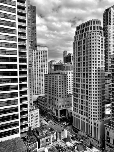Black and white aerial shot of Chicago Chicago Building Exterior Architecture Built Structure Building City Cloud - Sky Sky Office Building Exterior Modern Day No People Tall - High Office Skyscraper Residential District Outdoors Cityscape City Life Financial District  Architecture Architectural Column Architectural Feature Urban Skyline Urban Blackandwhite Black & White Sky And Clouds Landscape City Cityscape