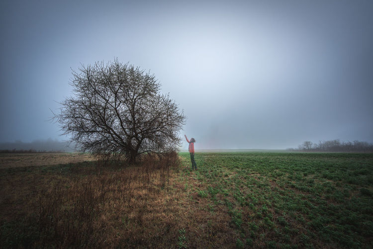 Pick a memory Blue Green Meadow Memory Copyspace Copy Space Woman Outdoors Horizon Over Land Rural Scene Beauty In Nature Bare Tree Fog One Person Nature Non-urban Scene Scenics - Nature Tranquility Tranquil Scene Environment Sky Plant Grass Tree Landscape Land Field Clear Sky Remote Isolated